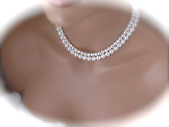 White Pearl Necklace Wedding Jewelry Bridal Necklace - Clairesbridal - 3