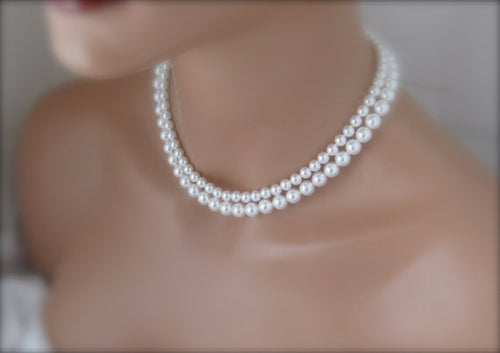 White Pearl Necklace Wedding Jewelry Bridal Necklace - Clairesbridal - 1