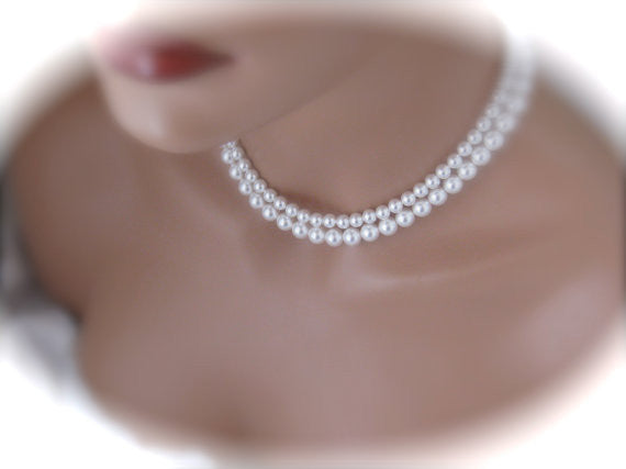 White Pearl Necklace Wedding Jewelry Bridal Necklace - Clairesbridal - 4