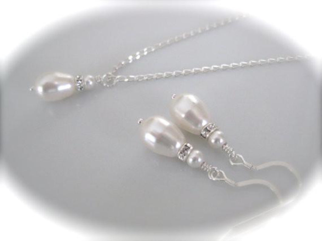 Sterling silver pearl drop necklace and earrings sets for bridesmaids - Clairesbridal