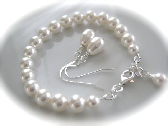 Bridal Jewelry Set White Pearl Bracelet and Earring Set - Clairesbridal - 2