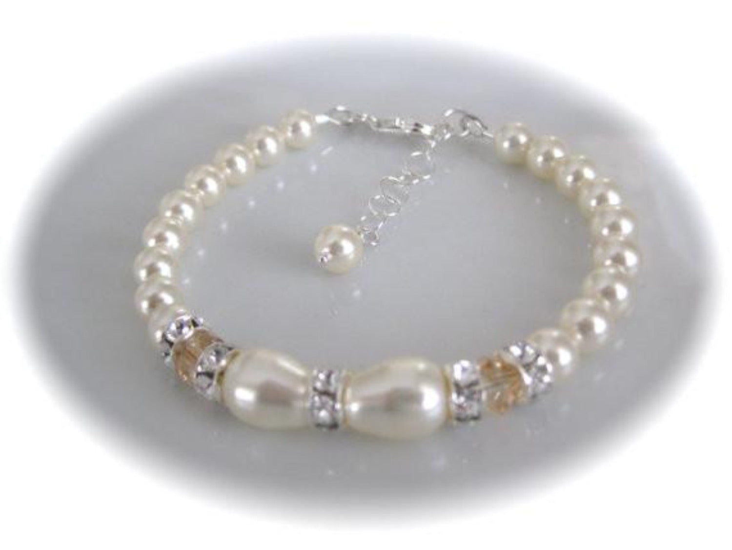 Elegant wedding jewelry set, ivory pearl and crystal necklace bracelet bridal jewelry set - Clairesbridal - 2