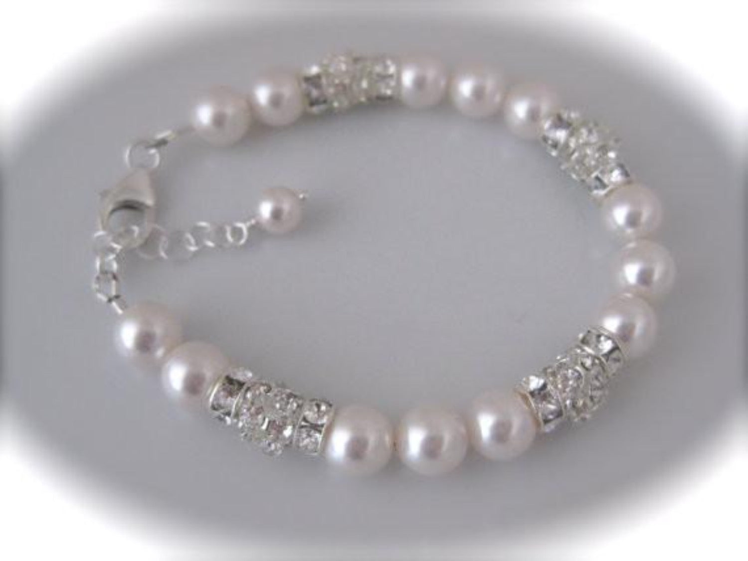 Rhinestone and pearl bridal bracelet for weddings - Clairesparklesbridal