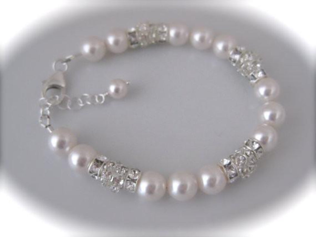 Rhinestone and pearl bridal bracelet for weddings - Clairesbridal - 1