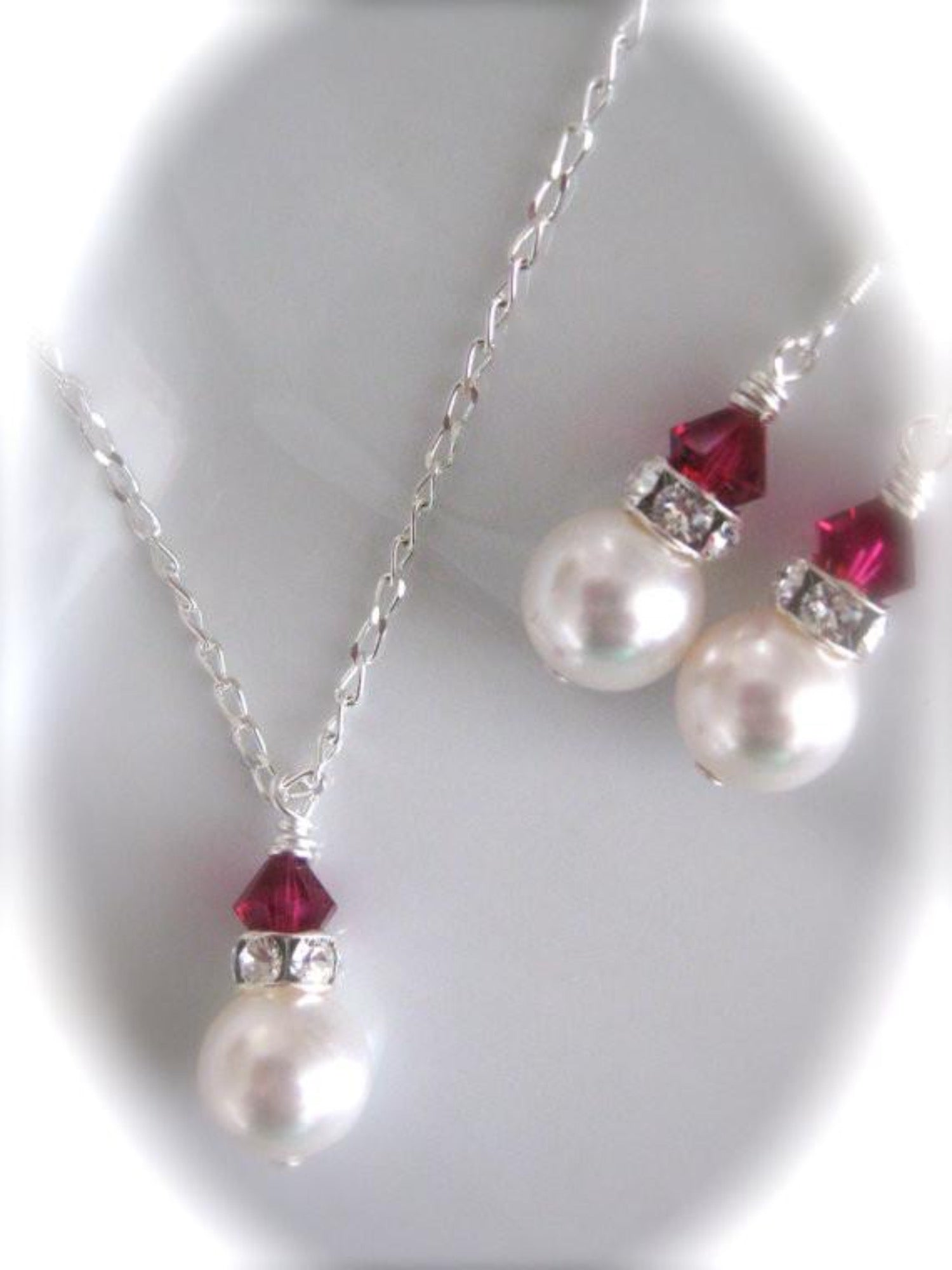Red crystal bridesmaid jewelry - Clairesparklesbridal - 1