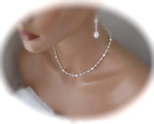 Delicate Pearl and Crystal Necklace and Earring Set for Brides - Clairesbridal - 5