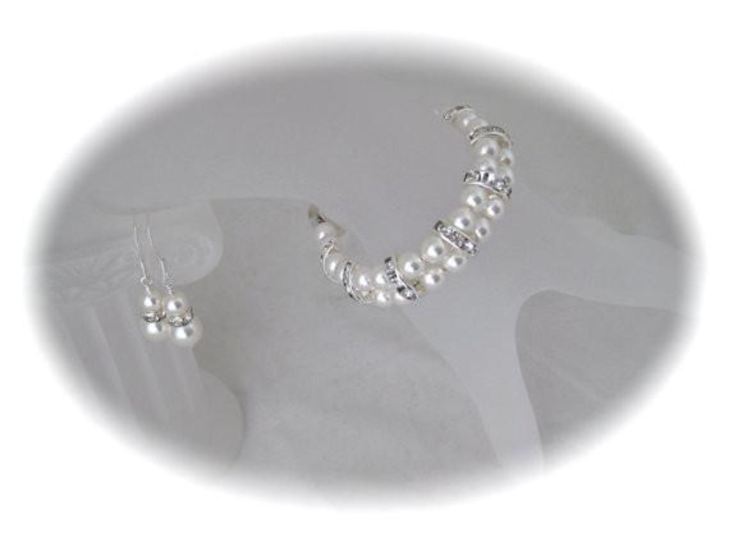 Bridal jewelry pearl and rhinestone bracelet and earrings - Clairesbridal - 2