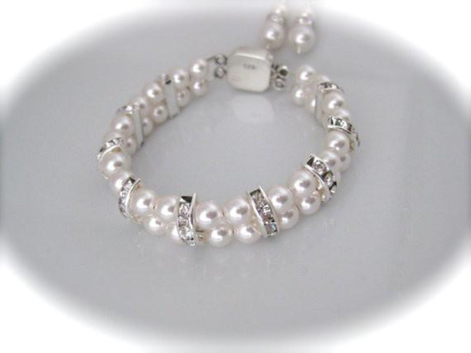 Bridal jewelry pearl and rhinestone bracelet and earrings - Clairesbridal - 3