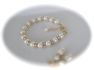 Gold and Ivory Pearl Bracelet and Earrings Bridal Jewelry Set - Clairesbridal - 3