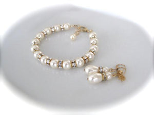 Gold and Ivory Pearl Bracelet and Earrings Bridal Jewelry Set - Clairesbridal - 4