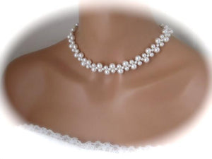 Pearl choker necklace wedding jewelry - Clairesbridal