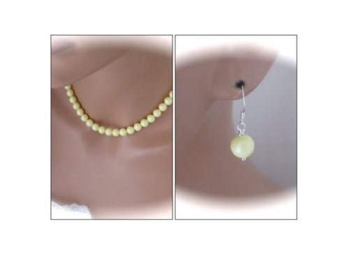 Pastel Yellow Bridesmaid Necklace and Earrings Sets - Clairesbridal