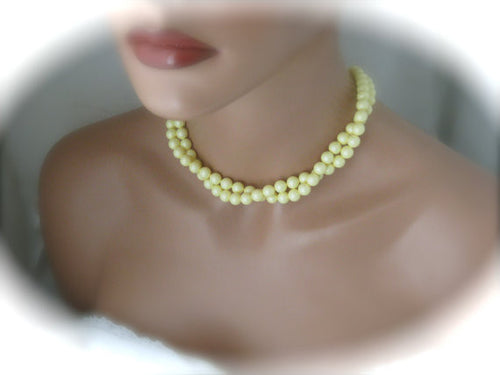 Pastel Yellow Necklace and Earrings Set for Bridesmaids - Clairesbridal - 1