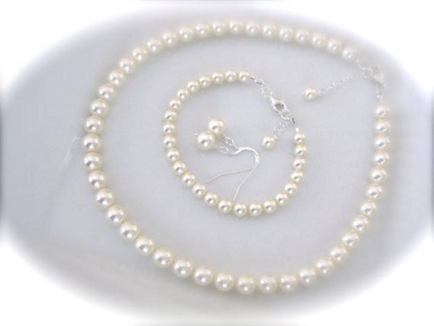 Pearl Bridal Necklace Set 8mm, Wedding Jewelry Set - Clairesbridal - 3