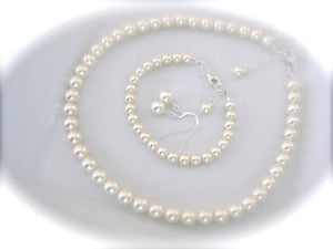 Classic Pearl Necklace Bracelet Earrings Set - Clairesbridal - 3