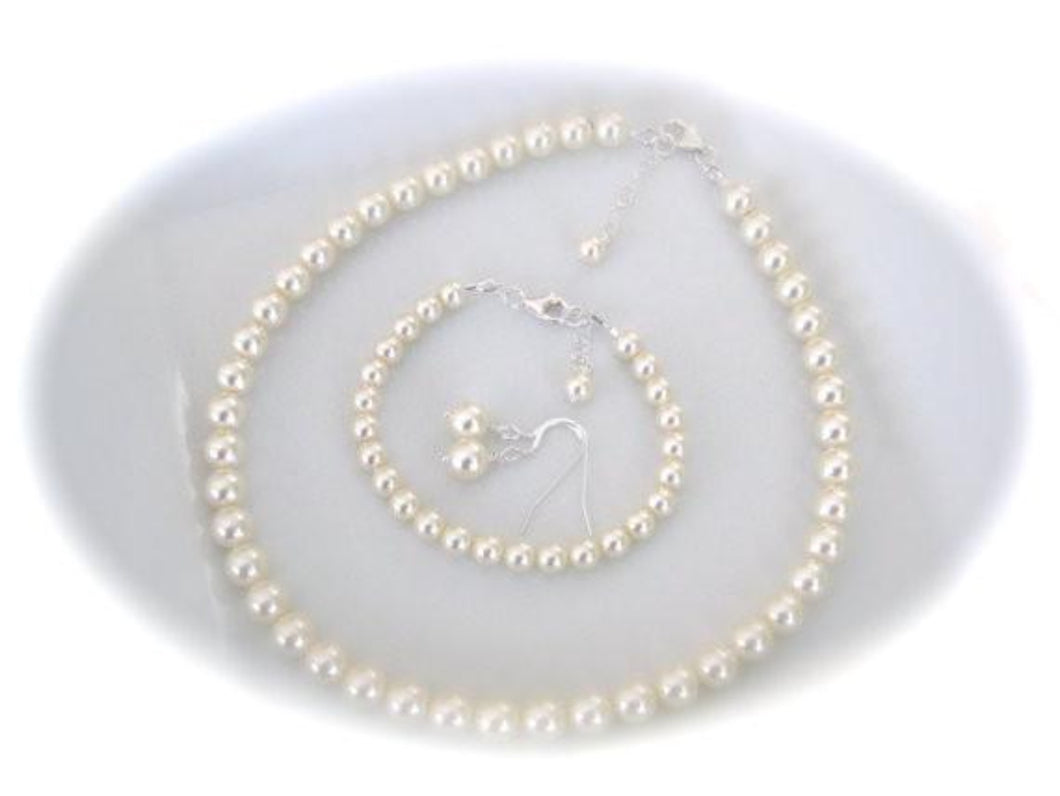 Classic Pearl Necklace Bracelet Earrings Set - Clairesbridal - 1