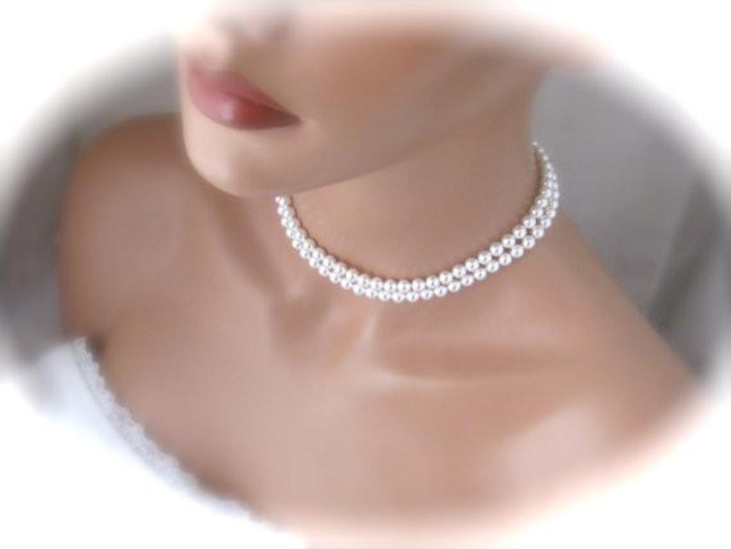 Double Strand White Pearl Necklace Wedding Jewelry - Clairesbridal - 1