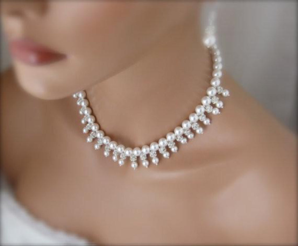 Wedding necklace and earring bridal set - Clairesbridal