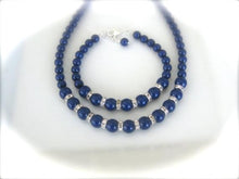 Load image into Gallery viewer, Navy Blue Bridesmaid Jewelry Set Wedding Necklace and Bracelet - Clairesbridal - 2
