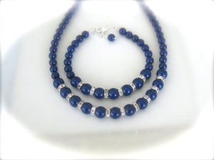 Navy Blue Bridesmaid Jewelry Set Wedding Necklace and Bracelet - Clairesbridal - 2