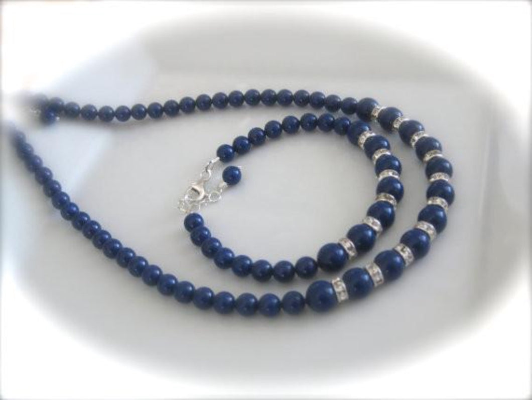 Navy Blue Bridesmaid Jewelry Set Wedding Necklace and Bracelet - Clairesbridal - 1