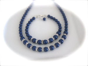 Navy Blue Bridesmaid Jewelry Set Wedding Necklace and Bracelet - Clairesbridal - 3