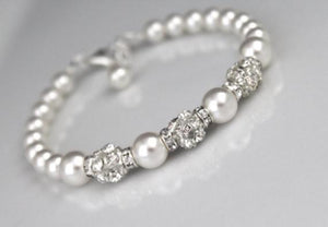 White Pearl and Rhinestone Bracelet Wedding Jewelry - Clairesbridal