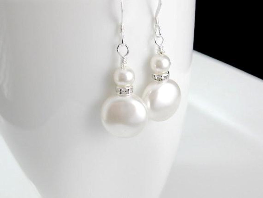 Coin Pearl Earrings bridal Jewelry - Clairesbridal