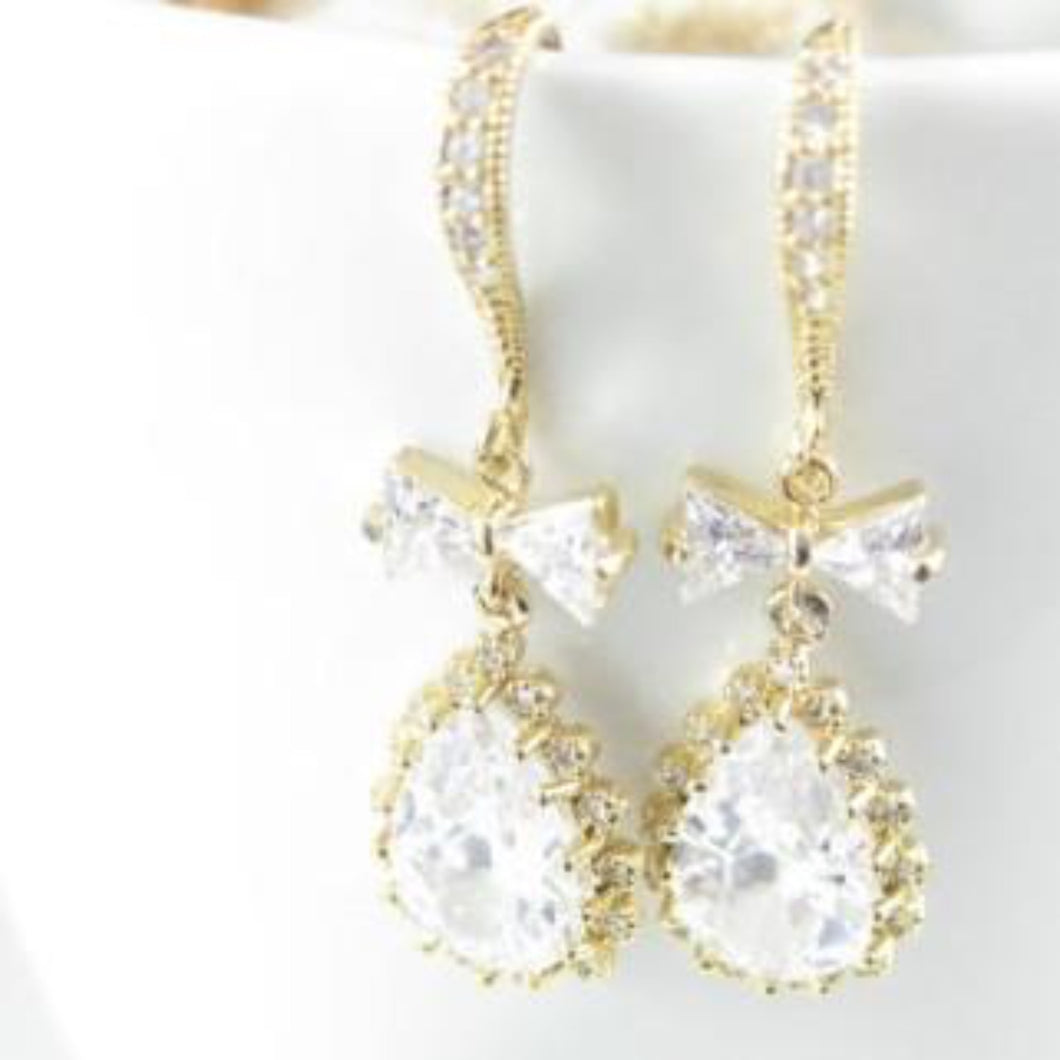 Gold wedding earrings cubic zirconia earrings - Clairesbridal