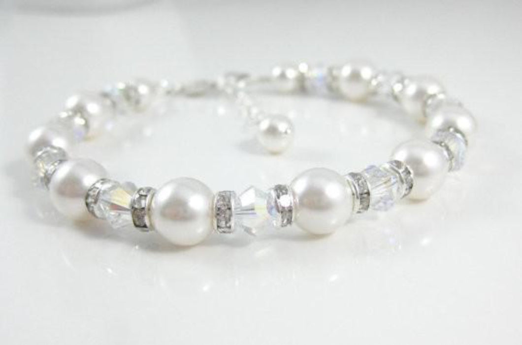 White Pearl and Crystal Bracelet Wedding Jewelry - Clairesbridal