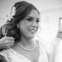 Load image into Gallery viewer, Pearl and Rhinestone Backdrop Necklace Bridal Jewelry - Clairesbridal - 3