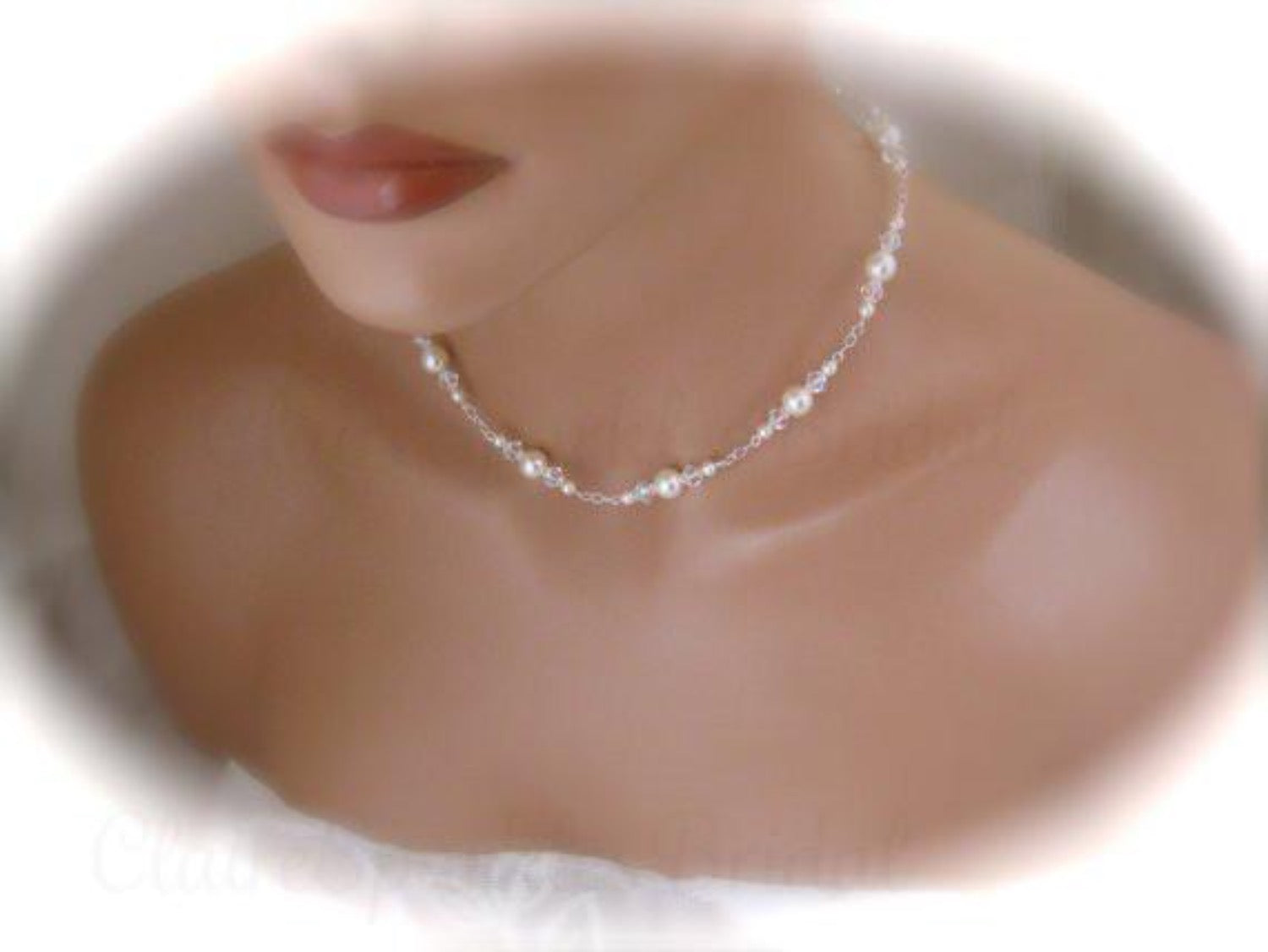 Ivory Pearl Backdrop Necklace, Wedding Jewelry - Clairesbridal - 2
