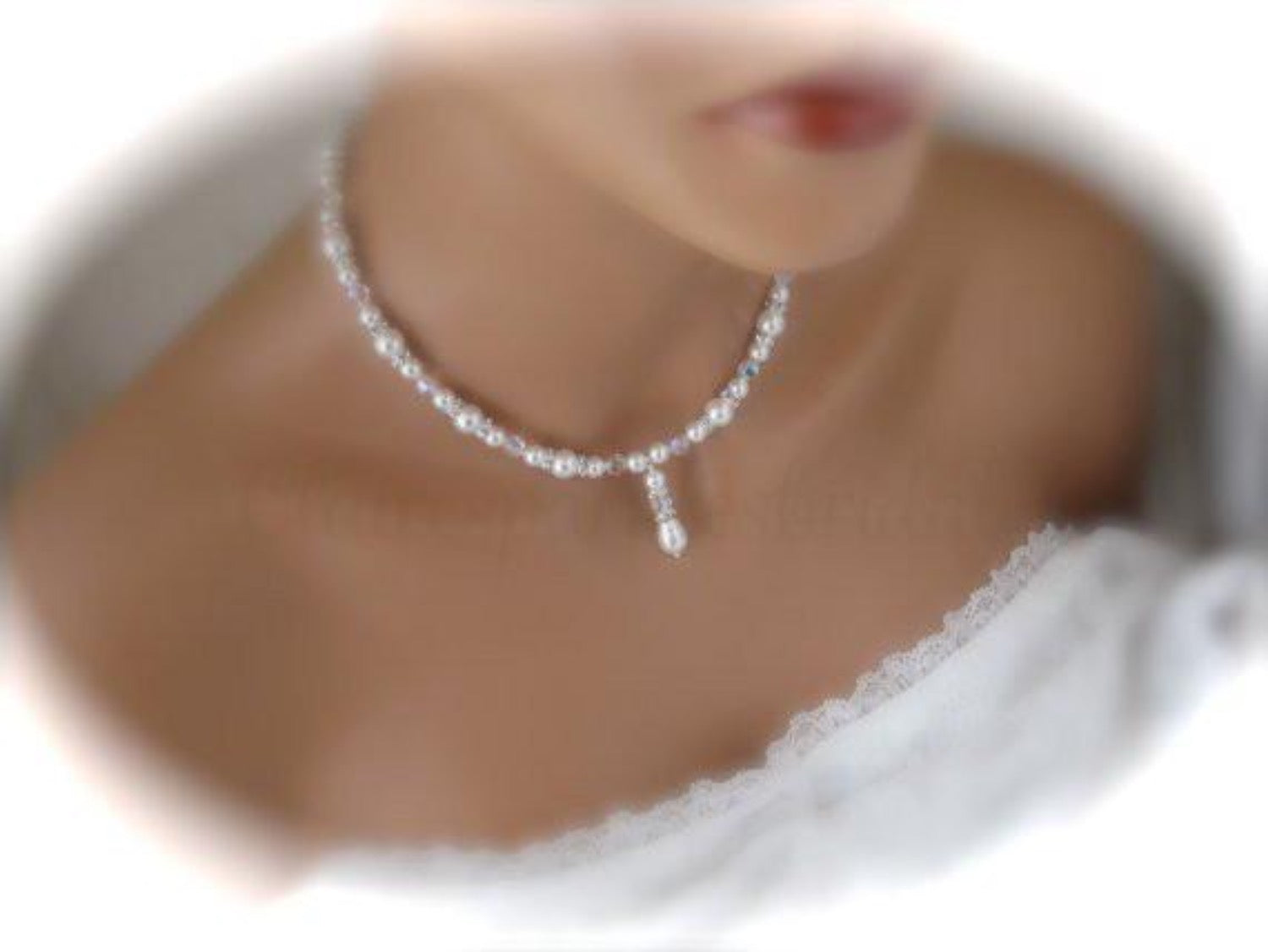 Pearl and Crystal Backdrop Necklace Bridal Jewelry - Clairesbridal - 2