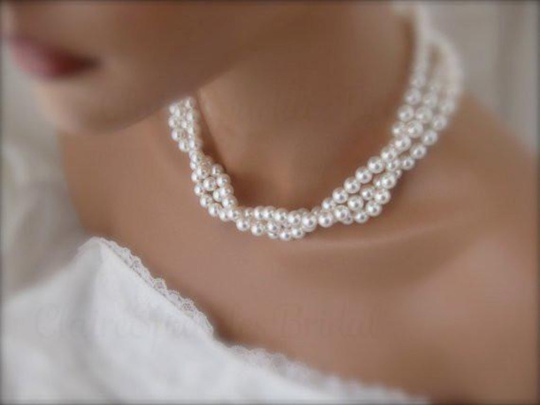 White Chunky Pearl Necklace and Earring Set Swarovski Bridal Jewelry - Clairesbridal - 1