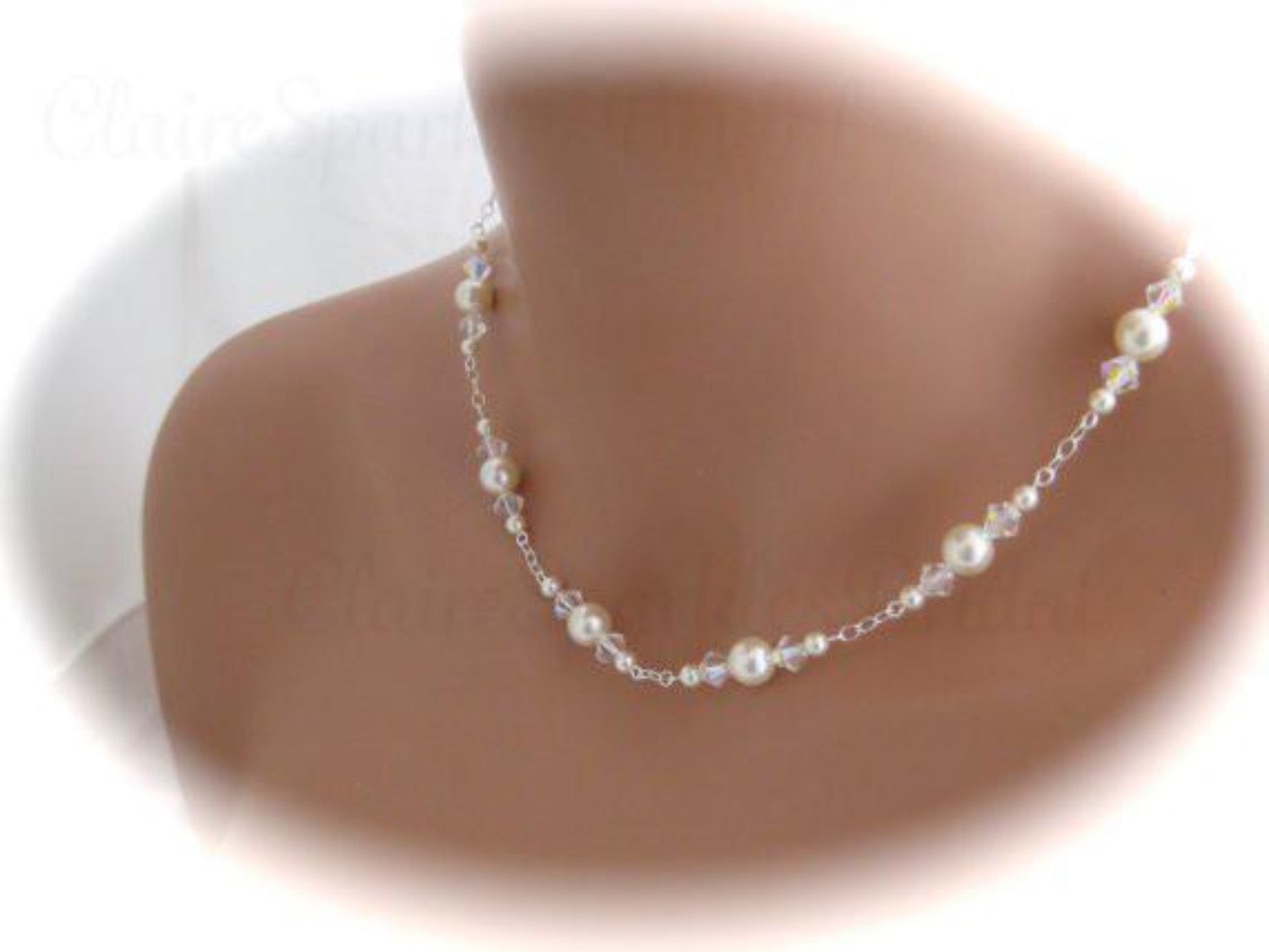 Ivory Pearl Backdrop Necklace, Wedding Jewelry - Clairesbridal - 4