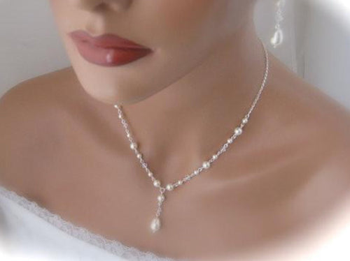 Ivory Pearl Bridal Necklace Wedding Jewelry Swarovski - Clairesbridal - 1