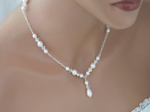 Bridal Wedding Jewelry, Pearl and Crystal Necklace - Clairesbridal - 1