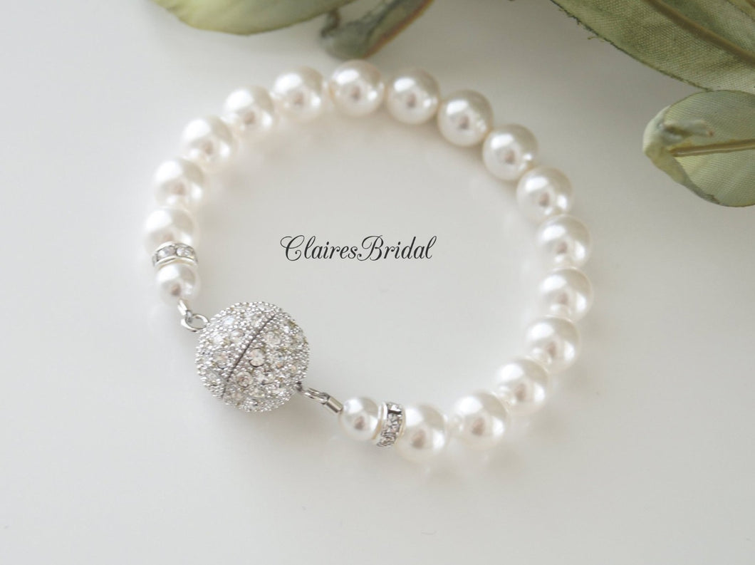 Single Strand Pearl Bracelet Bridal Jewelry - Clairesbridal - 1