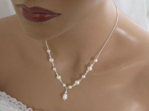 Wedding Jewelry Set Pearl Necklace and Earrings - Clairesbridal - 1