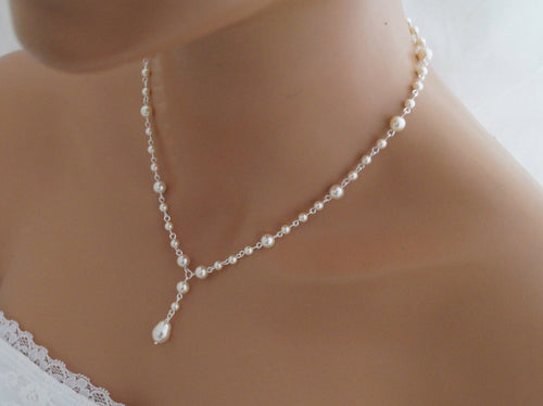 Pearl Drop Necklace, Wedding Jewelry, Swarovski - Clairesbridal - 1