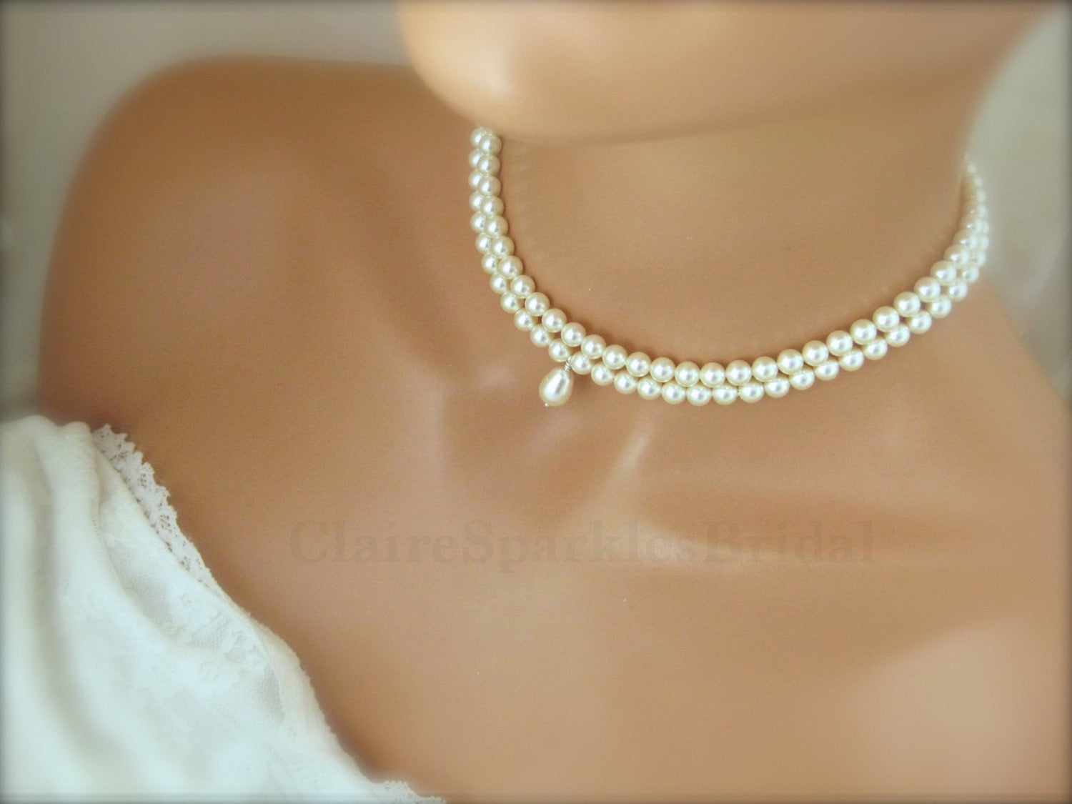 White Pearl Choker Necklace Wedding Jewelry - Clairesbridal - 2