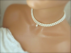 White Pearl Choker Necklace - Clairesbridal - 2