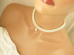 White Pearl Choker Necklace, Wedding Jewelry - Clairesbridal - 5