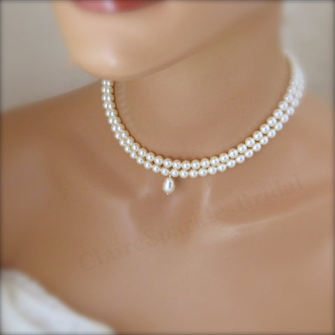 White Pearl Choker Necklace Wedding Jewelry - Clairesbridal - 1