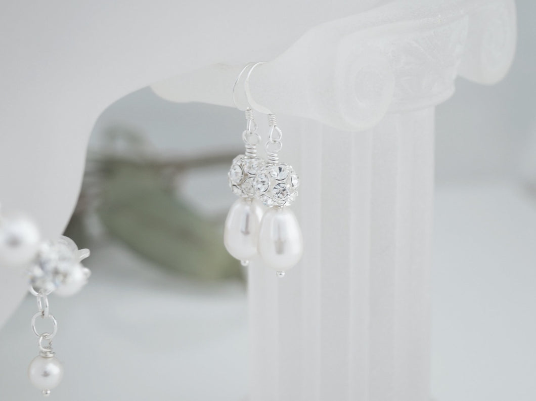 Bridal Pearl Drop Earrings Wedding Jewelry - Clairesbridal - 1