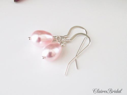Pink Pearl Drop Earrings, Bridal Jewelry, Swarovski Pearl Earrings - Clairesbridal - 1