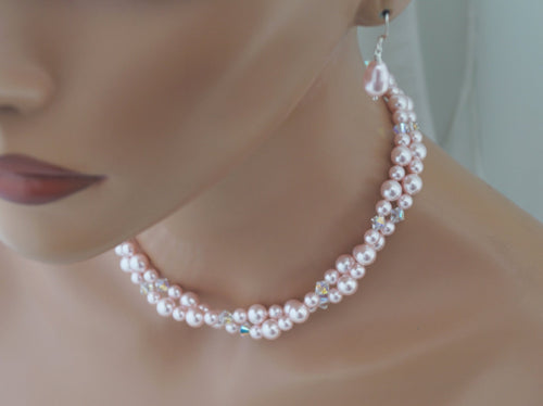 Pink Pearl Necklace Set Bridesmaid Jewelry Necklace and Earrings - Clairesbridal - 1