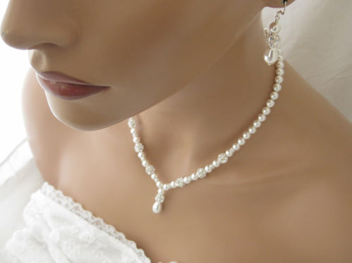 Pearl and Rhinestone Necklace and Earring Set Wedding Jewelry - Clairesbridal - 1
