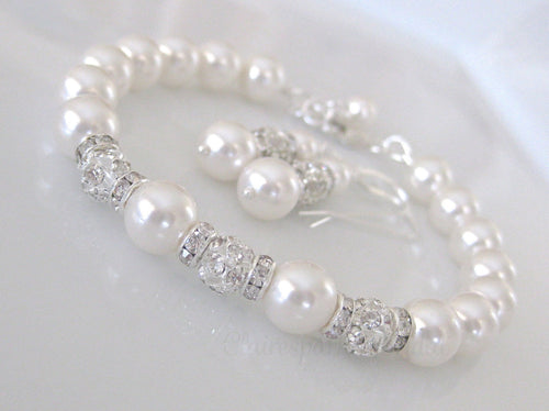 Pearl and Rhinestone Bridal Bracelet and Earring Set - Clairesbridal - 1