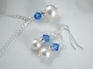 Sapphire Blue and White Pearl Necklace and Earrings Sets for Bridesmaids - Clairesbridal - 3